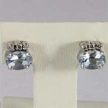 18K WHITE GOLD AQUAMARINE CT 1.40 AND DIAMONDS CT 0.11 EARRINGS, MADE IN ITALY