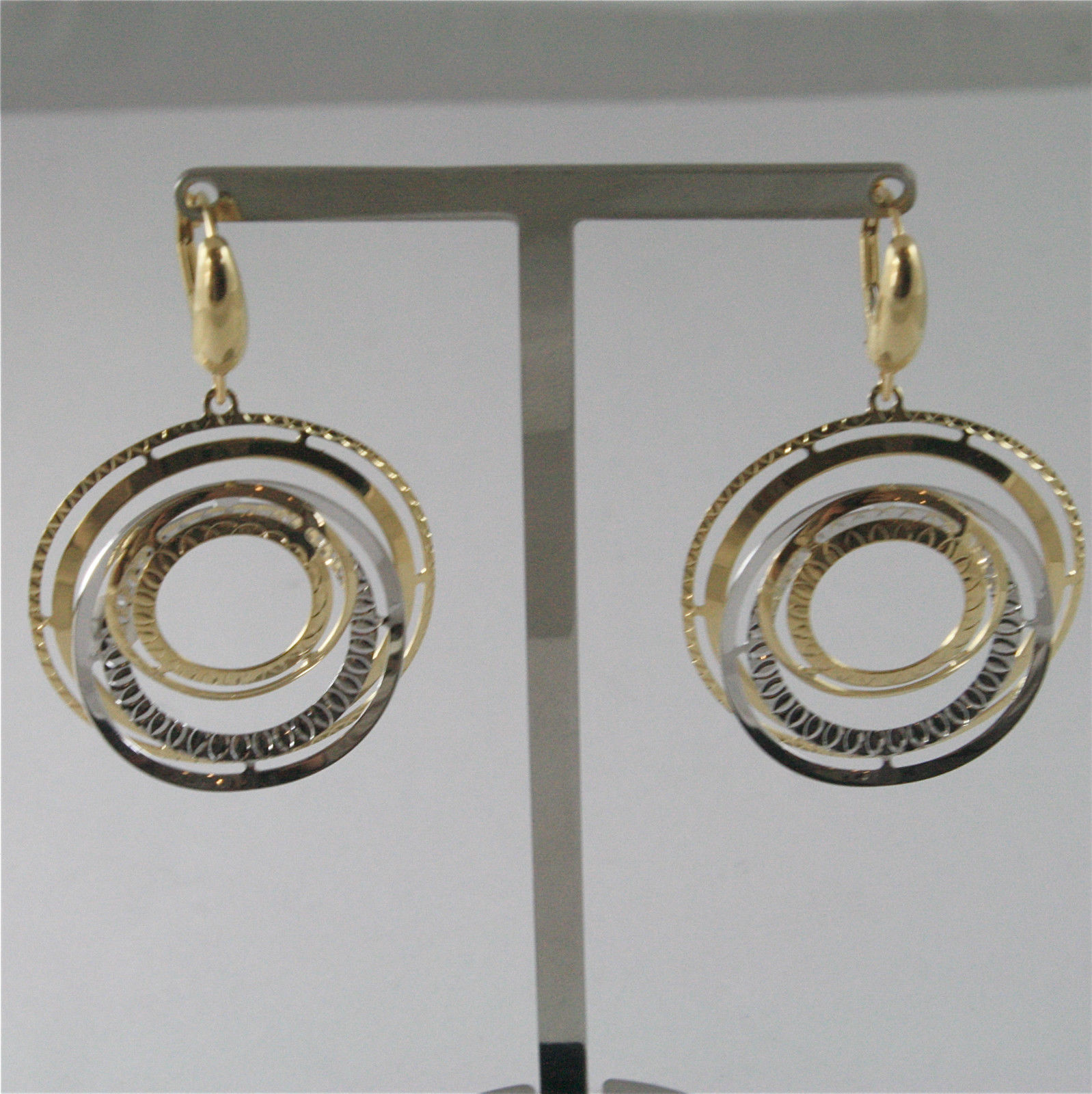 18K SOLID WHITE AND YELLOW GOLD PENDANT EARRINGS WITH CIRCLES 1.77 INCHIES LONG