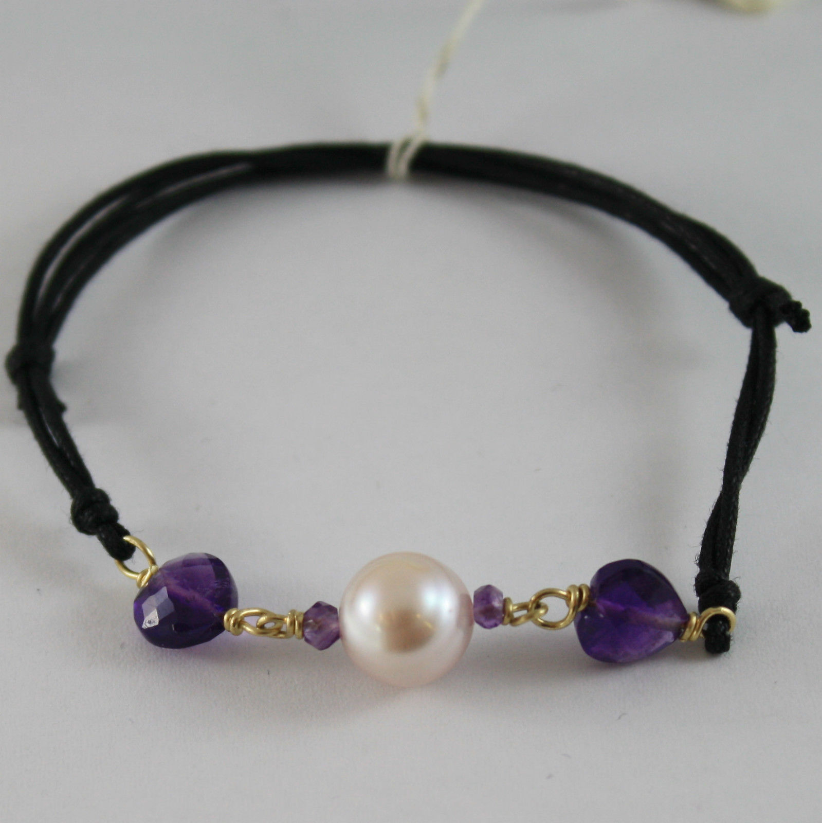 SOLID 18K YELLOW GOLD BRACELET HEART AMETHYST AND PURPLE PEARLS, MADE IN ITALY