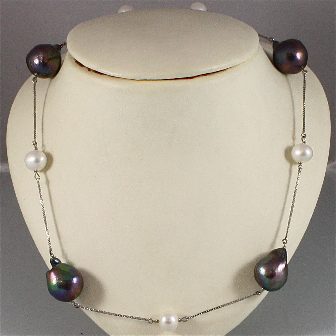 18K WHITE GOLD NECKLACE WITH BLACK AND WHITE BAROQUE PEARL, MADE IN ITALY