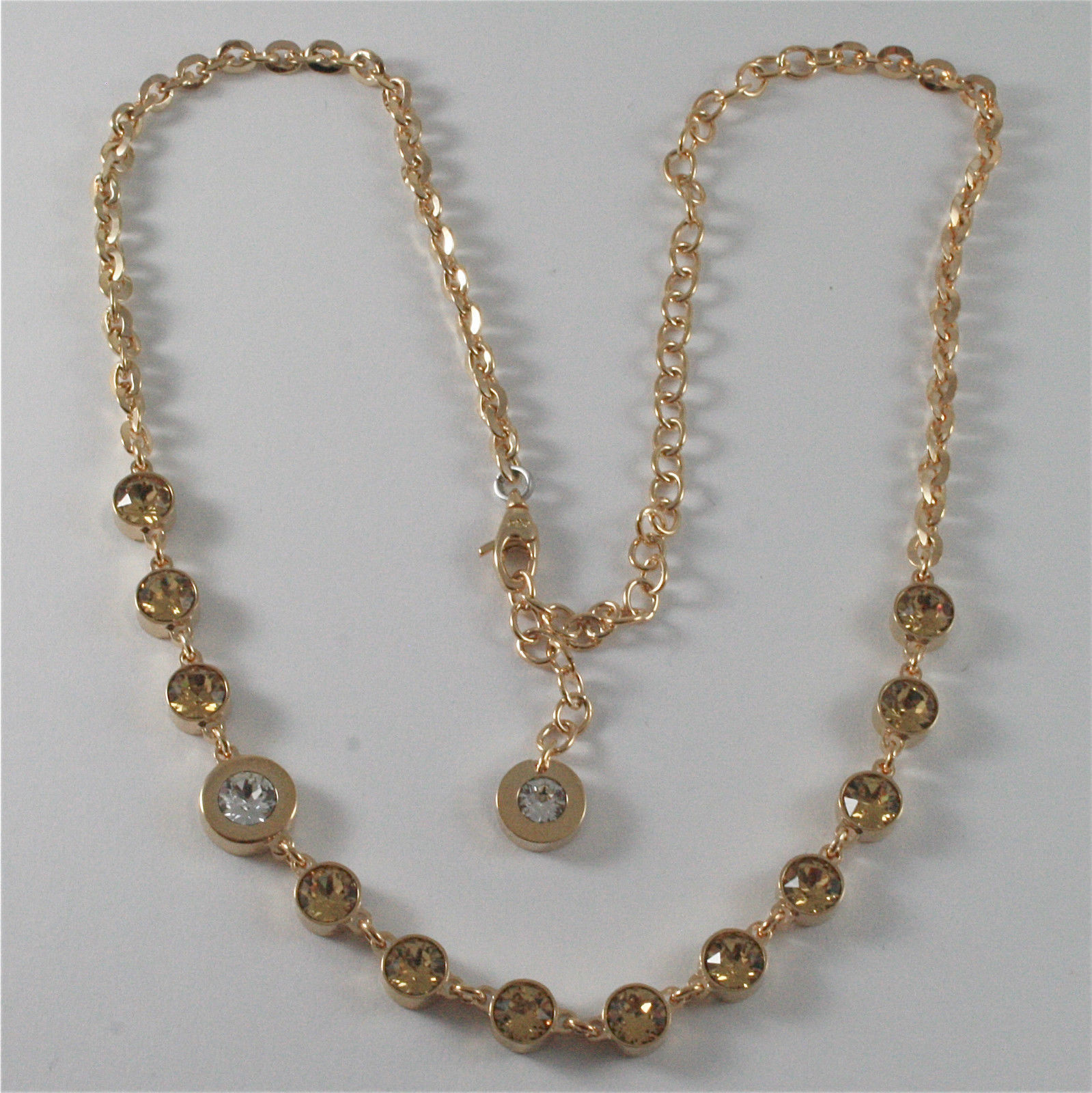 YELLOW GOLD PLATED BRONZE REBECCA TENNIS NECKLACE BPBKOC54 MADE IN ITALY 18.90