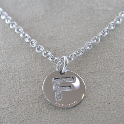 "RHODIUM-PL​ATED BRONZE NECKLACE WITH LETTER ""F"" PENDANT BY REBECCA MADE IN ITAL"