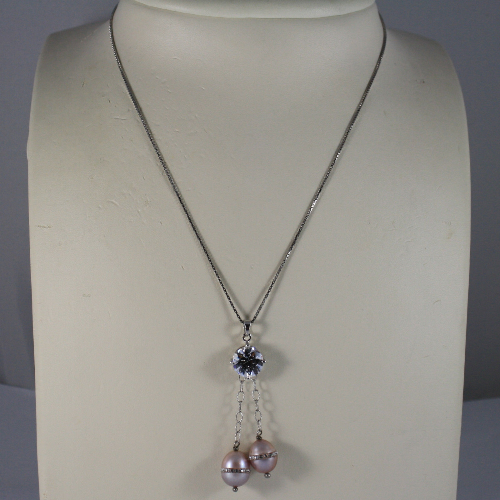 .925 RHODIUM NECKLACE WITH TWO ROSE PEARL WITH ZIRCONIA AND CENTRAL CRISTAL