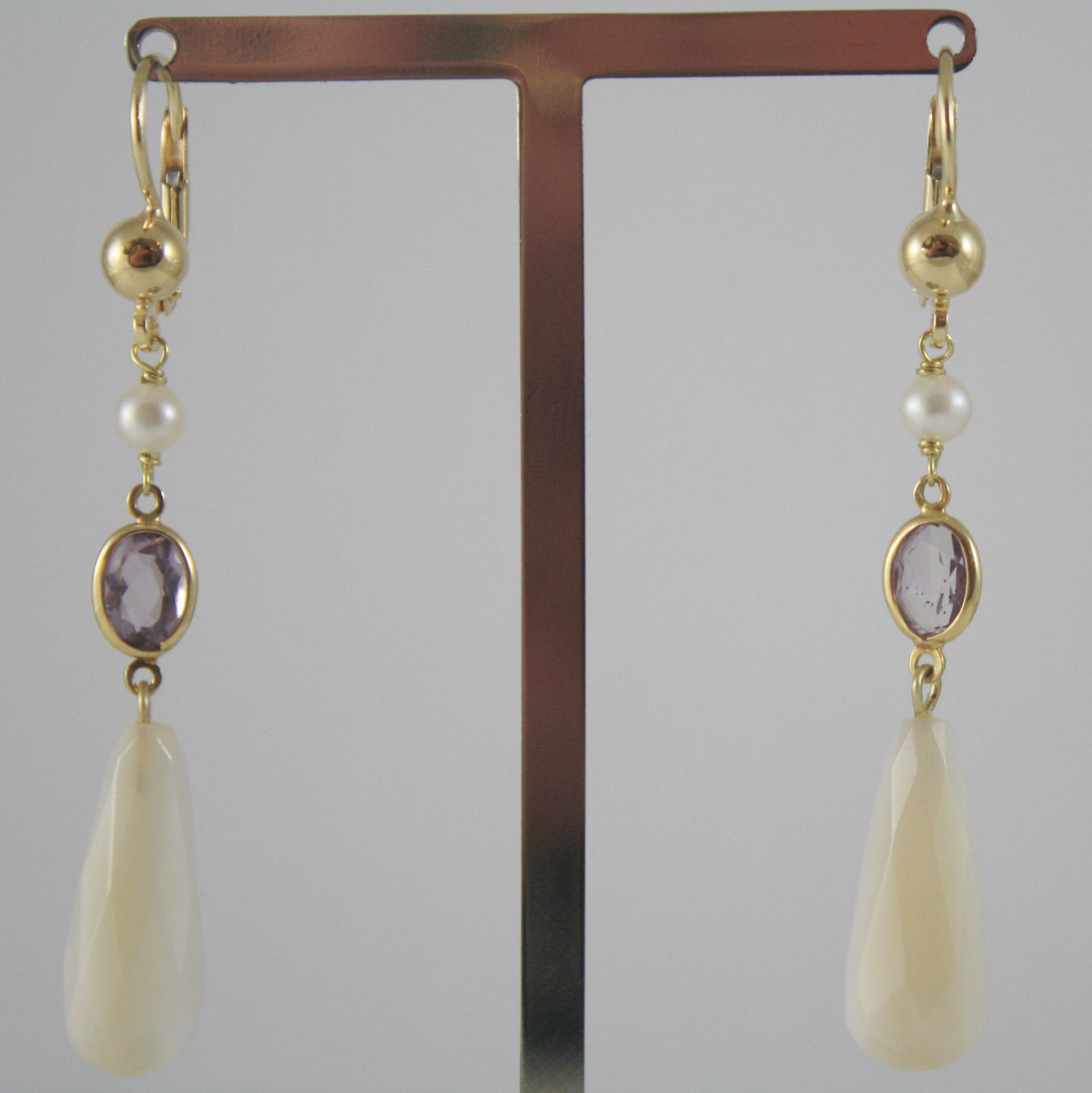 SOLID 18K YELLOW GOLD EARRINGS, PURPLE TOURMALINE, MOTHER PEARL, MADE IN ITALY