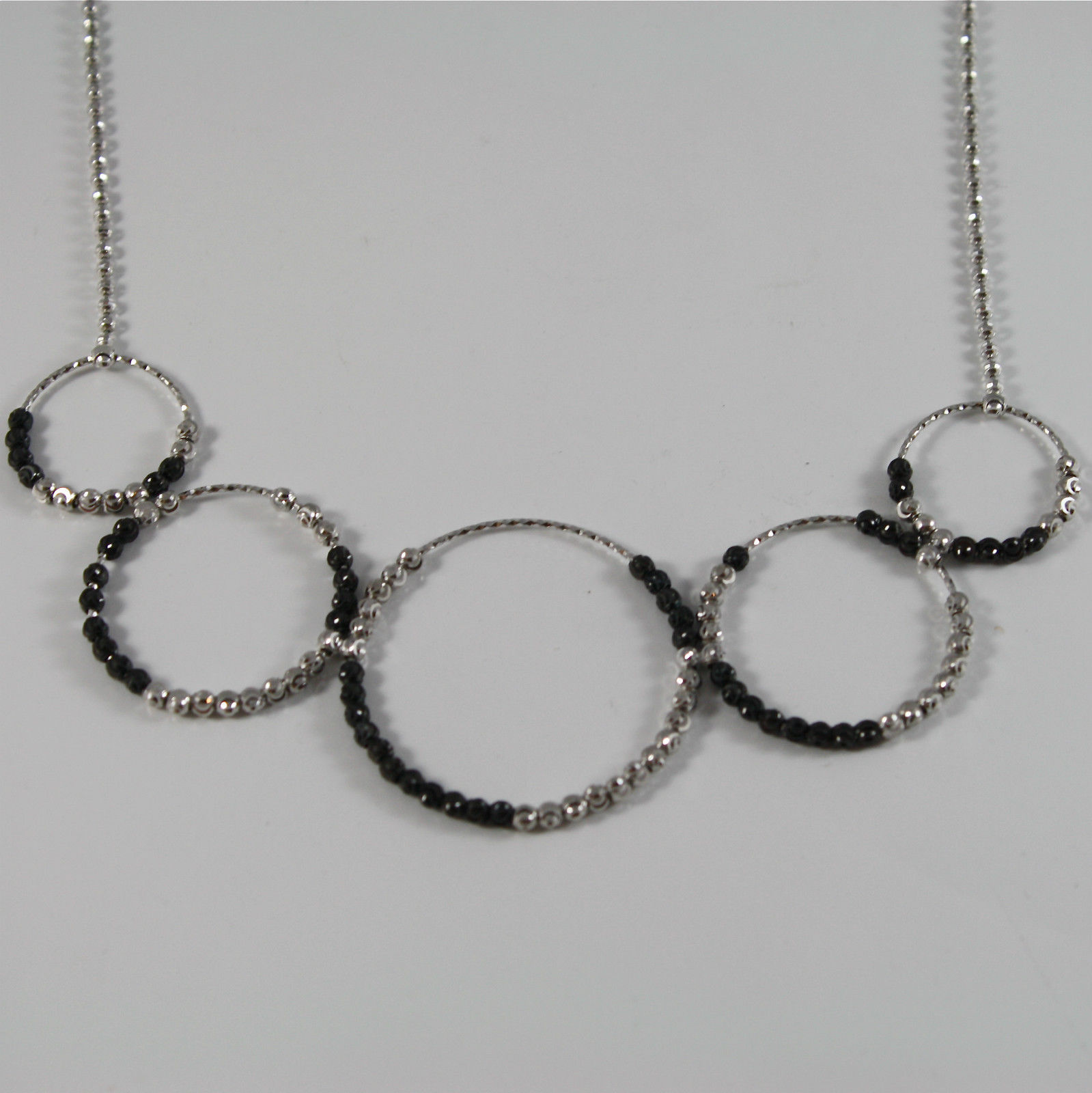 RODIUM BURNISHED SILVER NECKLACE OFFICINA BERNARDI FACETED CIRCLES MADE ITALY