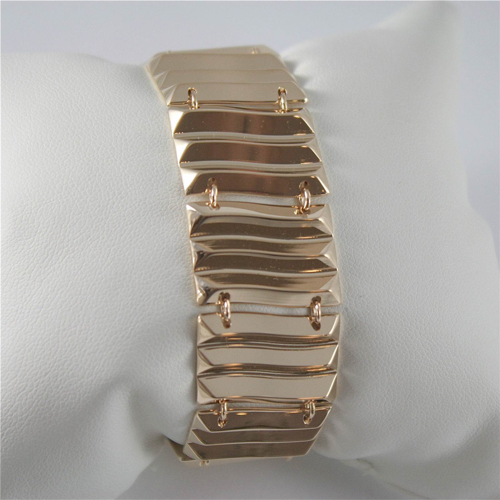 YELLOW GOLD PLATED WAVE BRONZE REBECCA BRACELET SAHARA BSABOB12 MADE IN ITALY