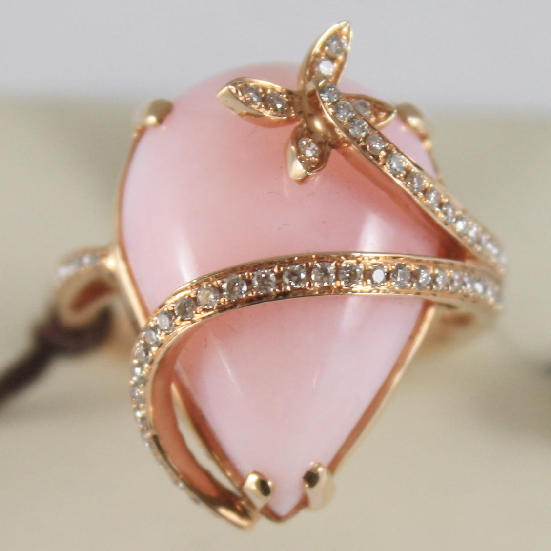 SOLID 18K PINK GOLD RING DROP OPAL AND DIAMONDS CT 0,29, BUTTERFLY MADE IN ITALY