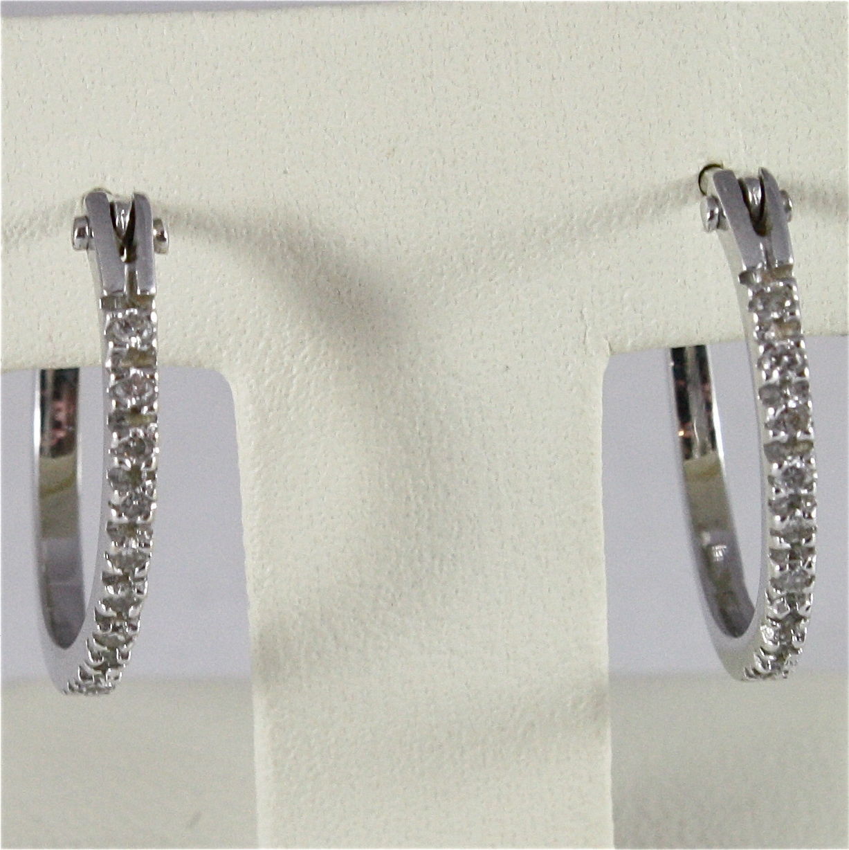 18K WHITE GOLD DIAMONDS CIRCLE PENDANT EARRINGS, CT0.19, COLOR H, MADE IN ITALY