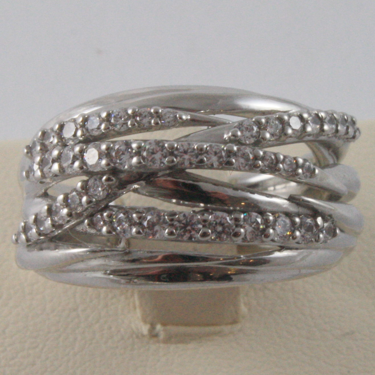 SOLID 925 SILVER BAND RING BY NANIS, MULTIWIRES, WOVEN, ZIRCONIA, MADE IN ITALY