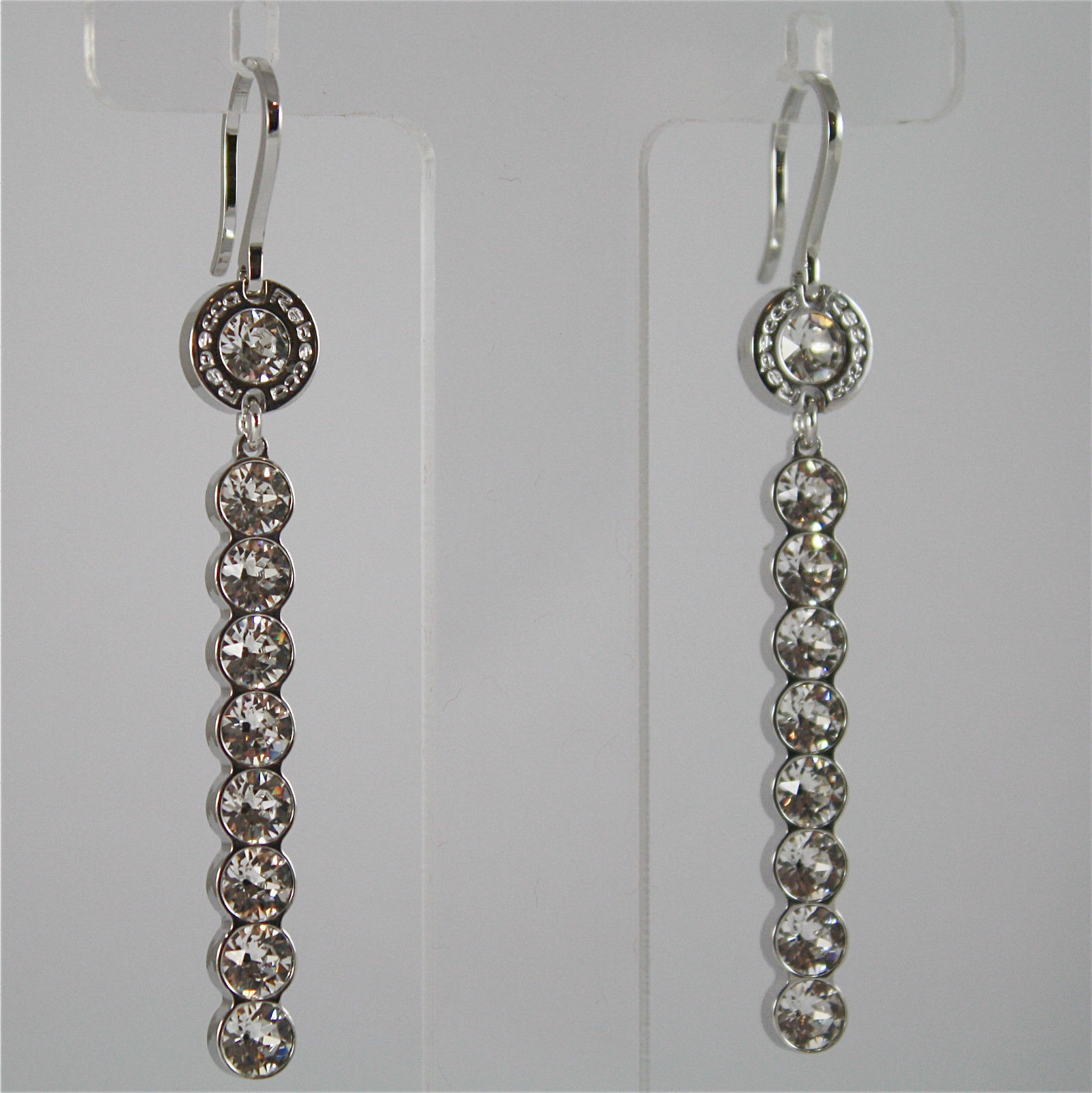 WHITE GOLD PLATED BRONZE REBECCA EARRINGS PALM BEACH BPBORP28 MADE IN ITALY 2.4