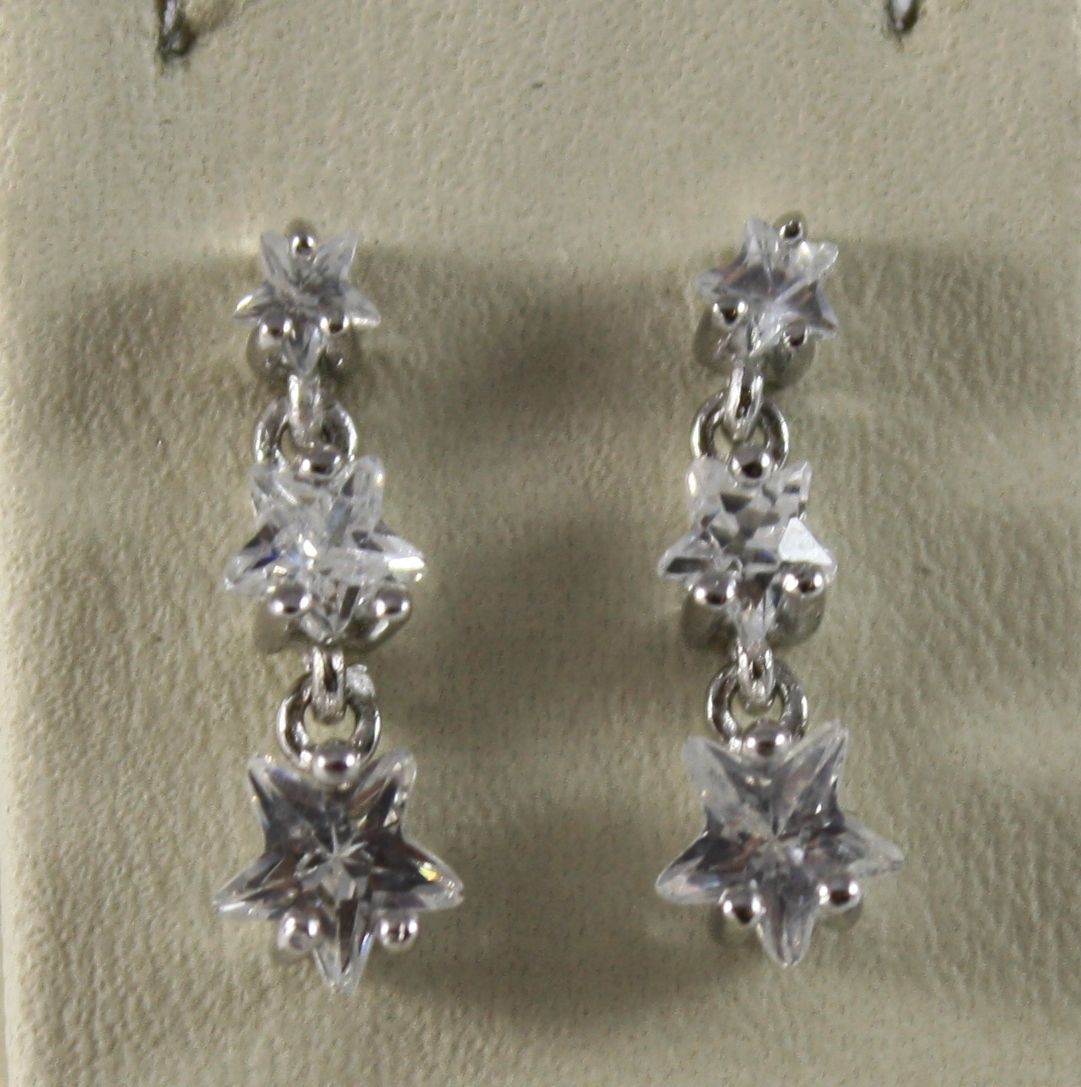 925 Silver Earrings Pendants with Transparent CRYSTALS in STAR