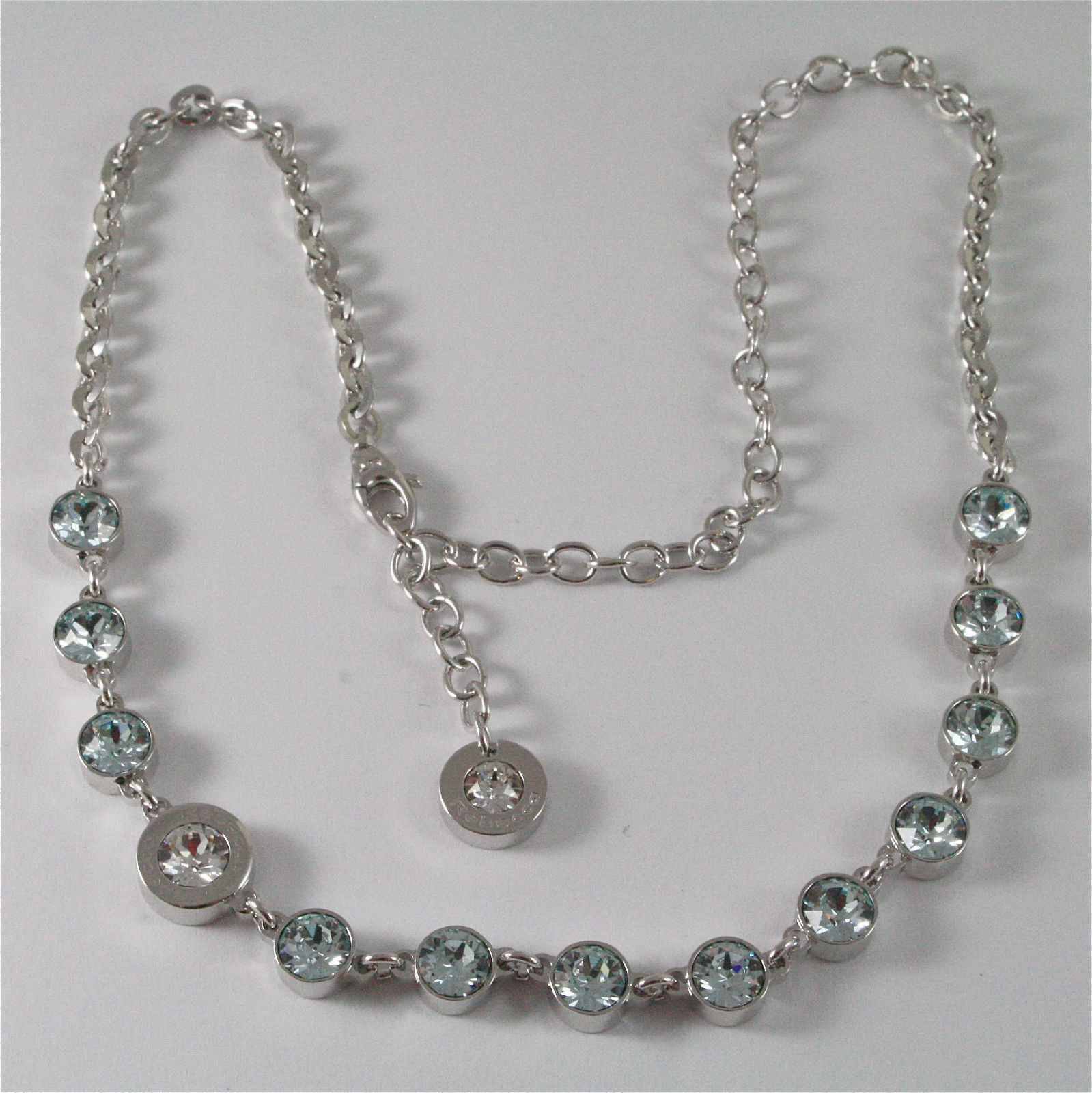 WHITE GOLD PLATED BRONZE REBECCA TENNIS NECKLACE BPBKBL54 MADE IN ITALY 15.75 IN
