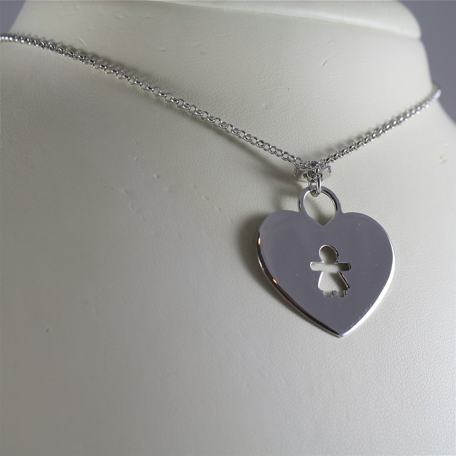 925 SILVER, AQUAFORTE NECKLACE, RHODIUM SILVER, HEART & BABY CHARM, SUPERLIGHT​.