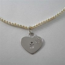 925 RHODIUM SILVER NECKLACE WITH FW WHITE PEARLS AND HEART GIRL PENDANT 18.11 IN image 1