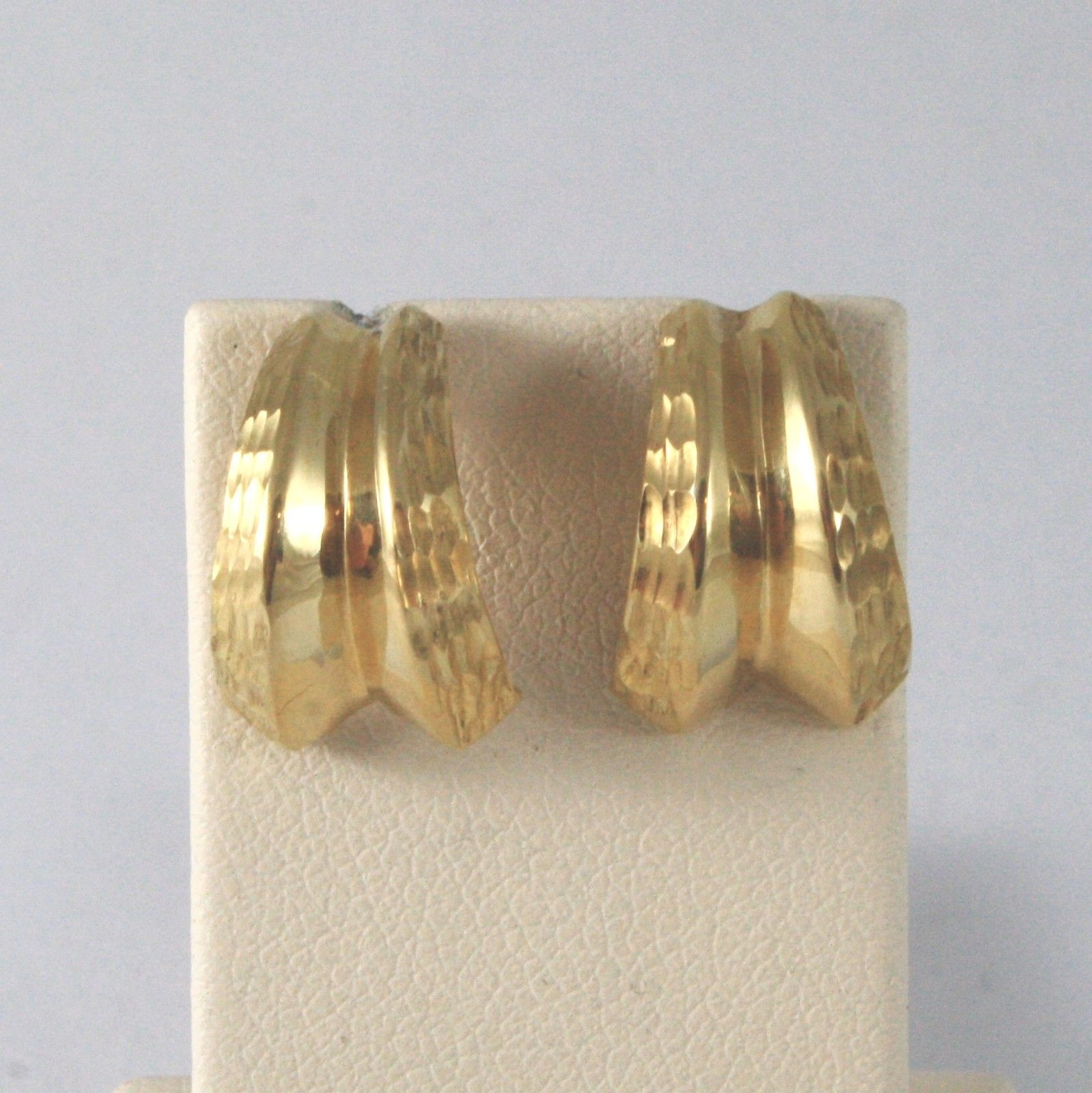 18K SOLID YELLOW GOLD SEMICIRCLES WORKED EARRINGS MADE IN ITALY 18K