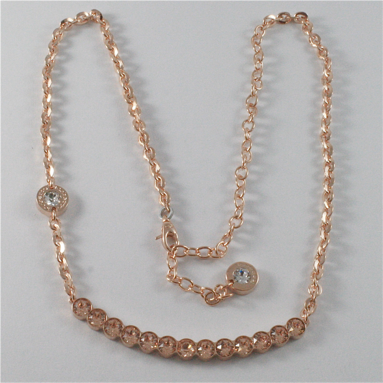 ROSE GOLD PLATED BRONZE REBECCA TENNIS NECKLACE BPBKRP14 MADE IN ITALY 18.90 IN