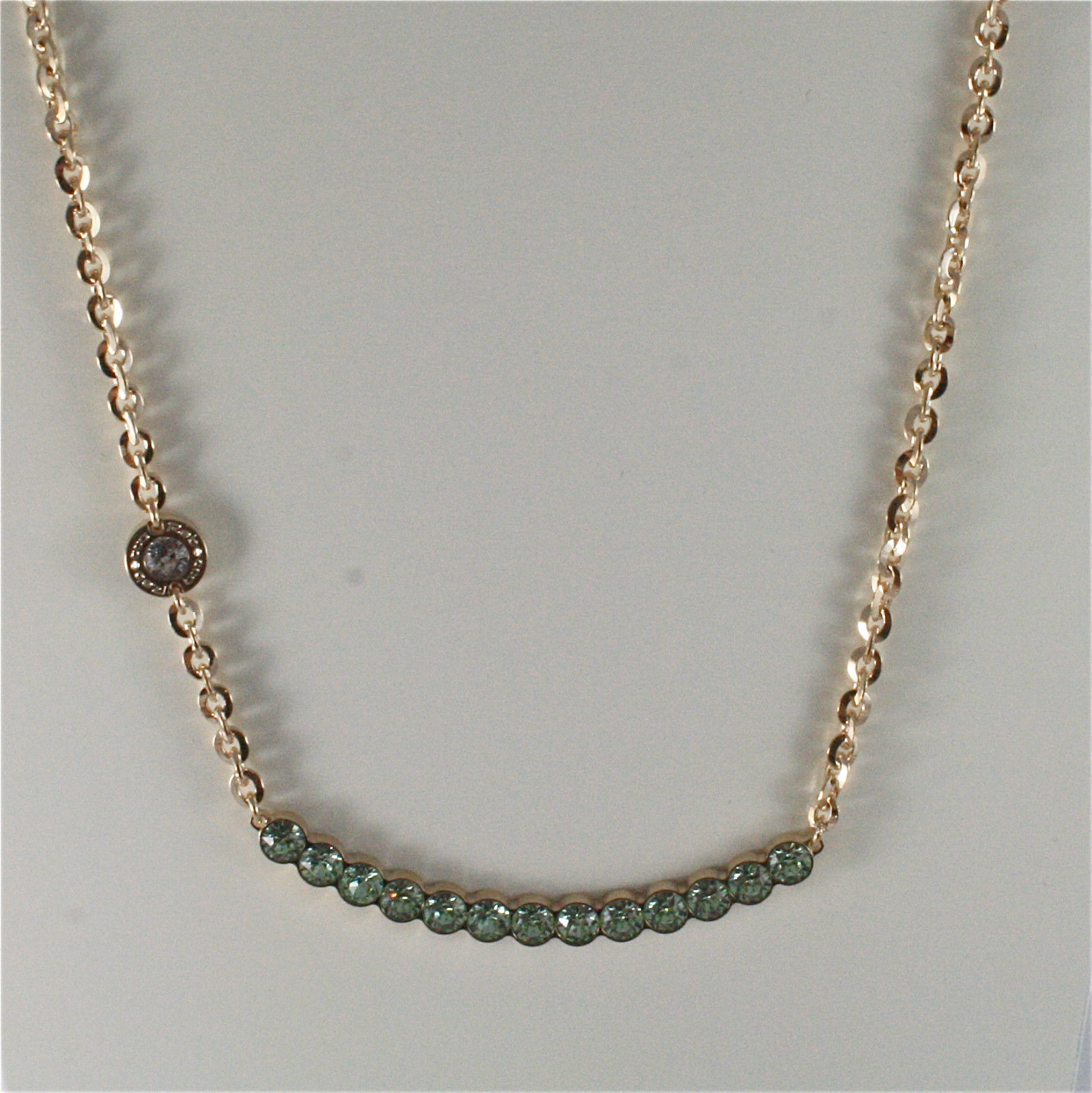 YELLOW GOLD PLATED BRONZE REBECCA TENNIS NECKLACE BPBKOE14 MADE IN ITALY 18.90