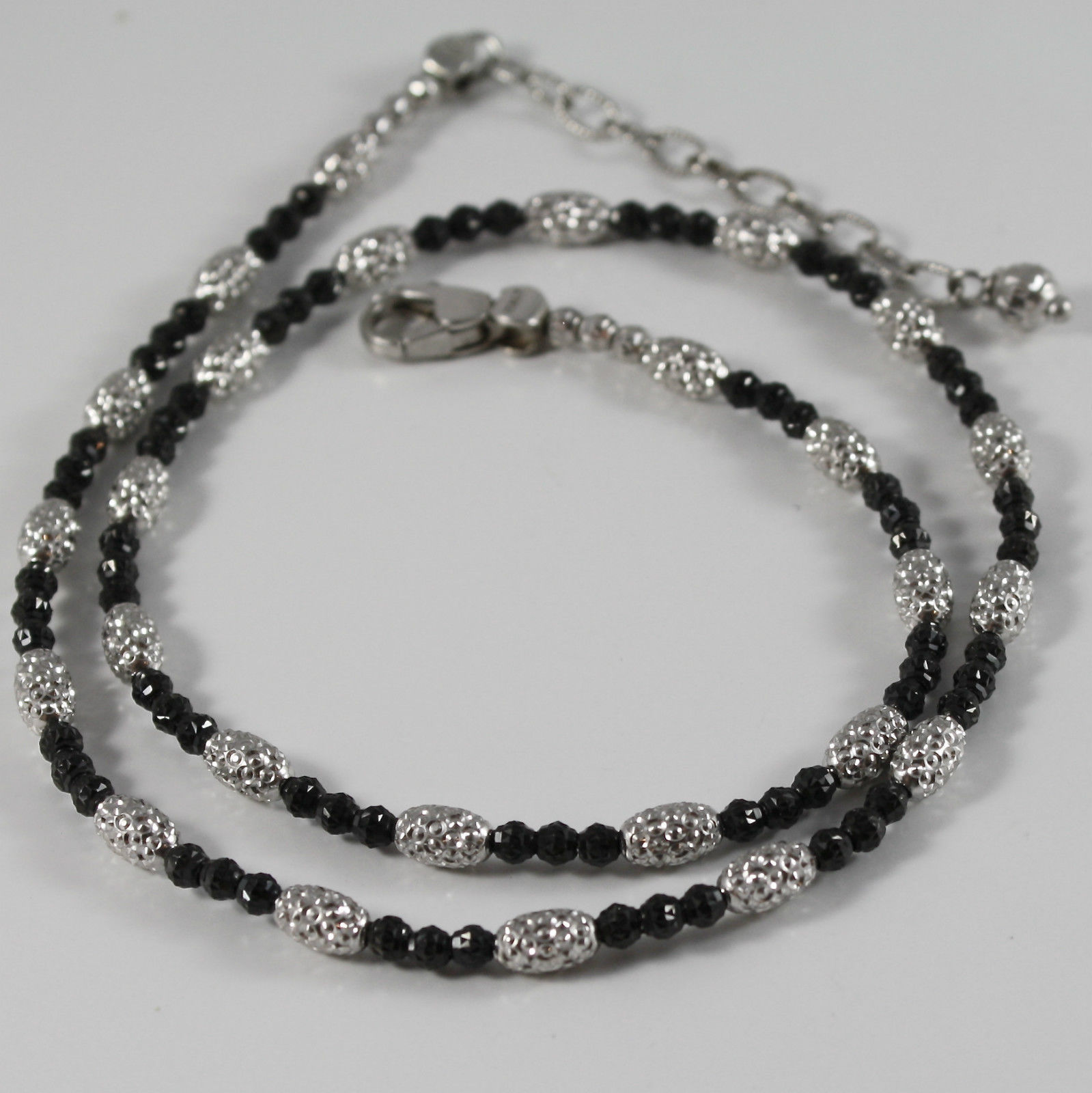 925 RHODIUM BURNISHED SILVER NECKLACE OFFICINA BERNARDI FACETED BALLS MADE ITALY