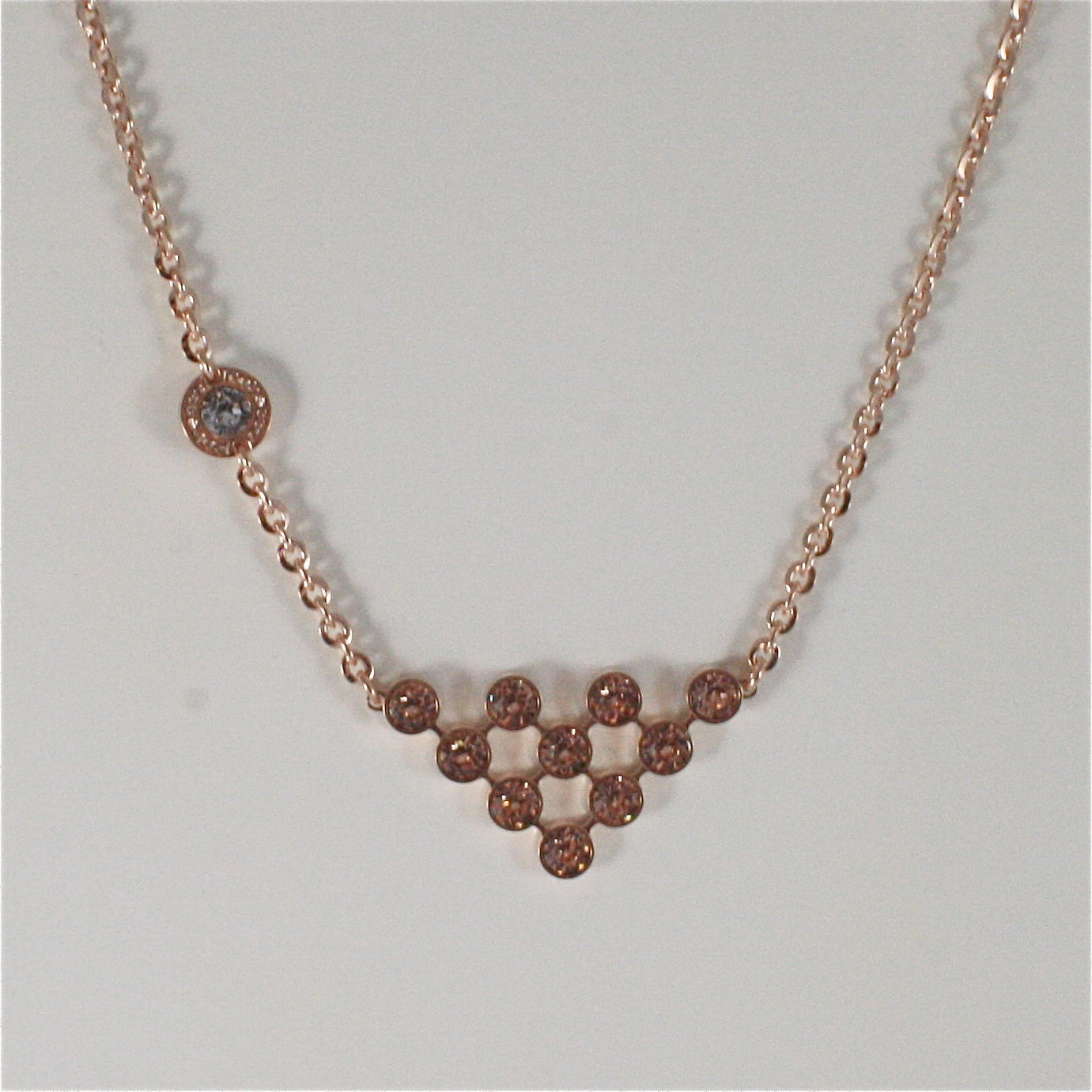 ROSE GOLD PLATED BRONZE REBECCA CLUSTER NECKLACE BPBKRP05 MADE IN ITALY 18.90 IN