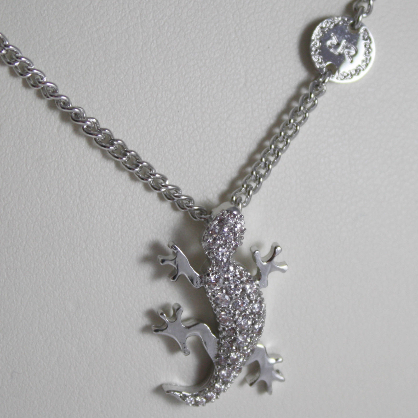RHODIUM BRONZE NECKLACE WITH GECKO B14KBB09 CUBIC ZIRCONIA REBECCA MADE IN ITAL