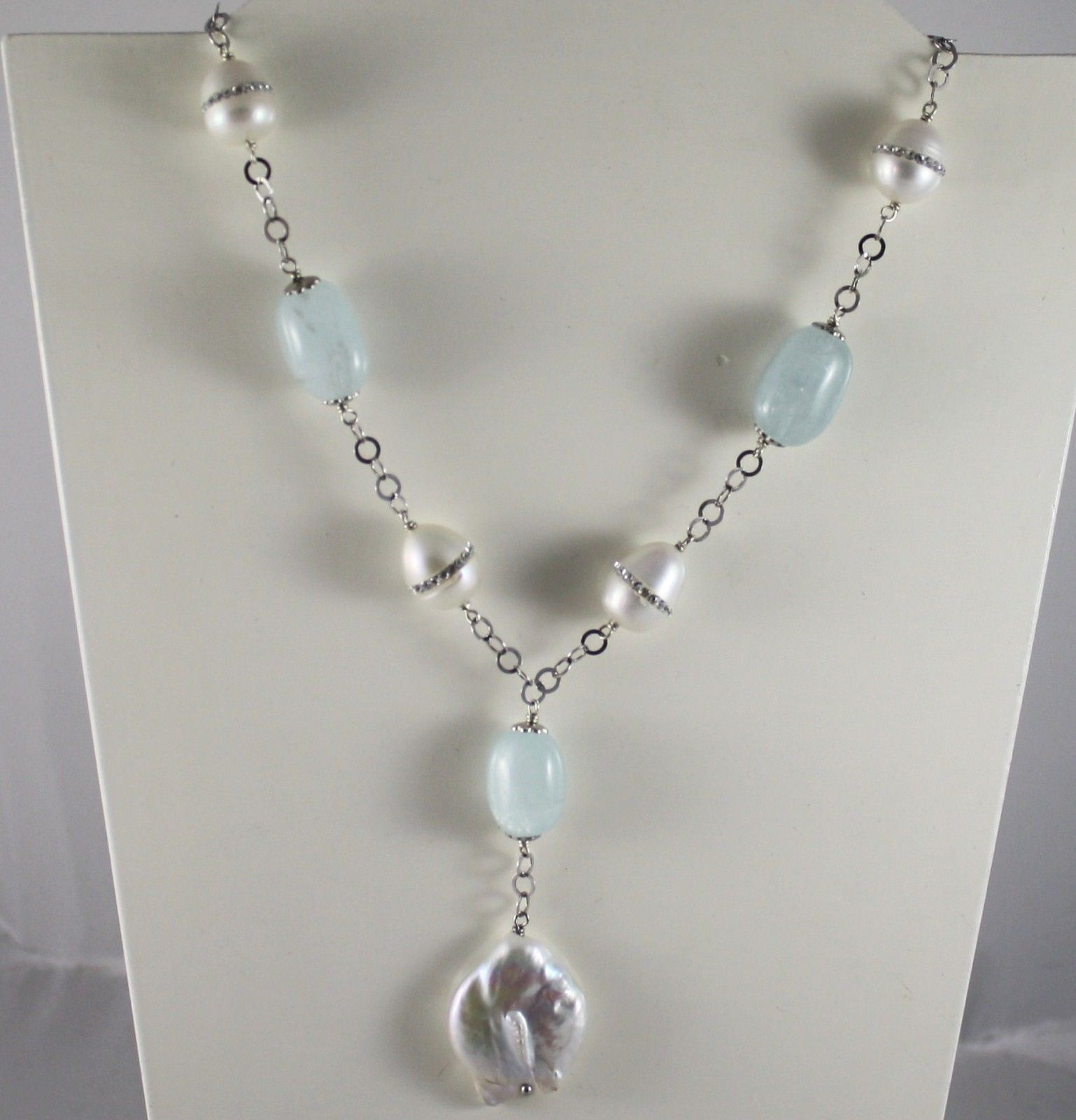 SOLID .925 STERLING SILVER NECKLACE WITH NATURAL AQUAMARINE AND PEARLS