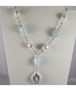 SOLID .925 STERLING SILVER NECKLACE WITH NATURAL AQUAMARINE AND PEARLS - $194.75