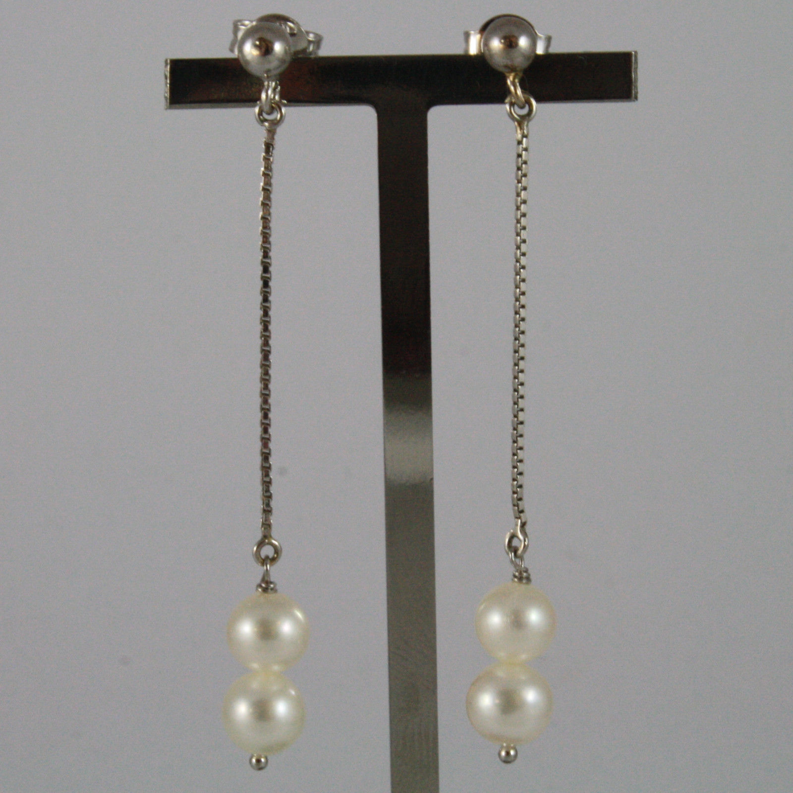 SOLID 18K WHITE GOLD PENDANTS EARRINGS WITH FRESHWATER WHITE PEARL MADE IN ITALY