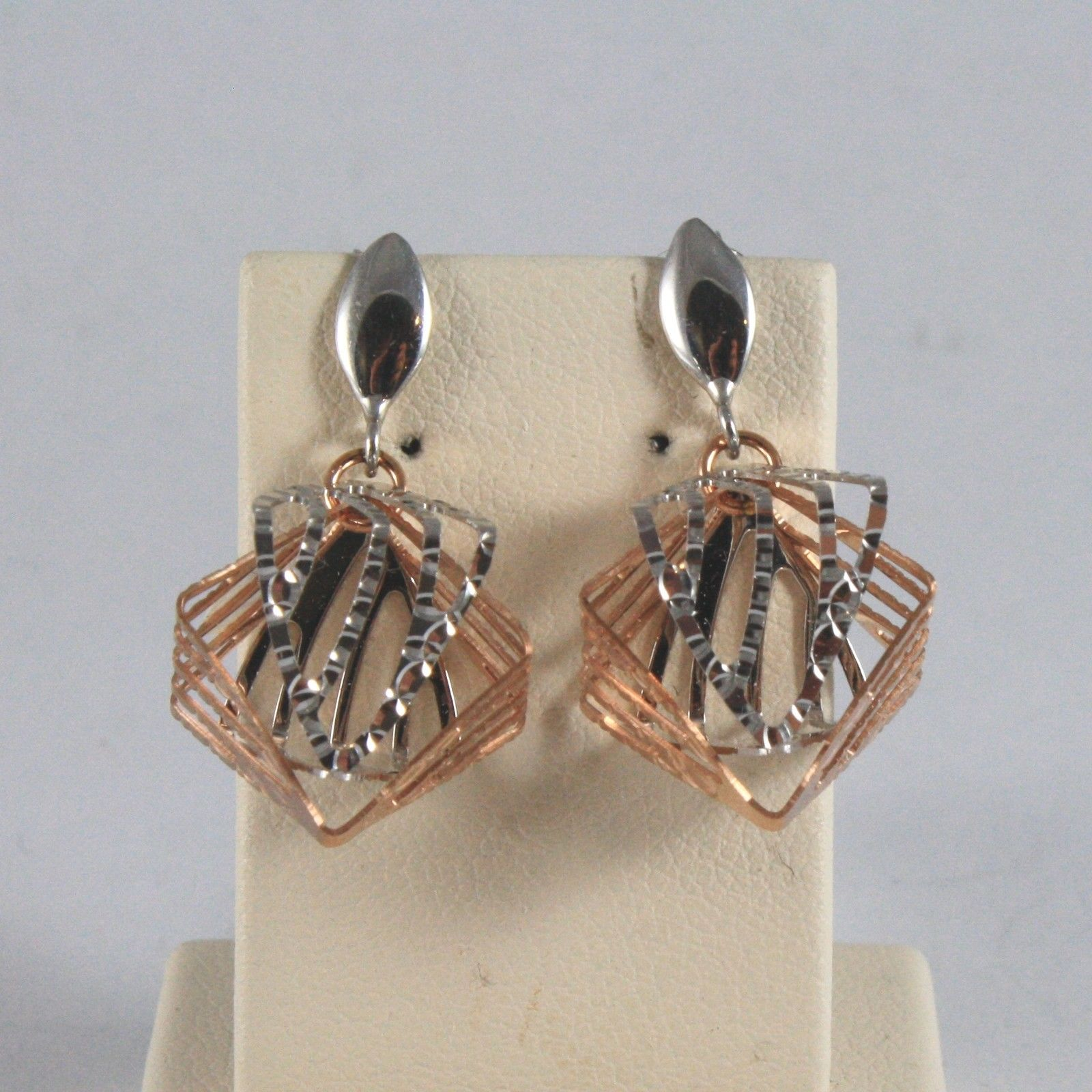 18K SOLID WHITE AND ROSE GOLD EARRINGS WITH WORKED RHOMBUS MADE IN ITALY 18K