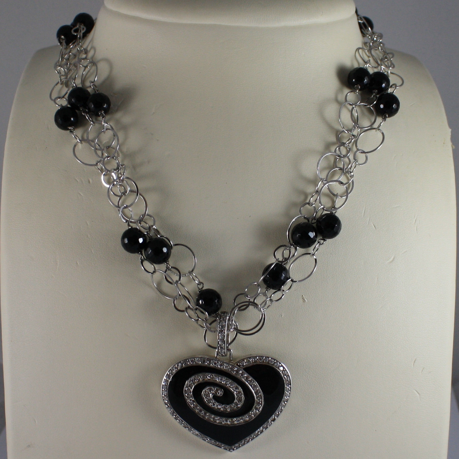 .925 SILVER RHODIUM MULTI STRAND NECKLACE WITH BLACK ONYX AND HEART WITH ZIRCONS