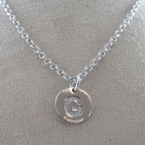 "RHODIUM-PL​ATED BRONZE NECKLACE WITH LETTER ""G"" PENDANT BY REBECCA MADE IN ITAL"