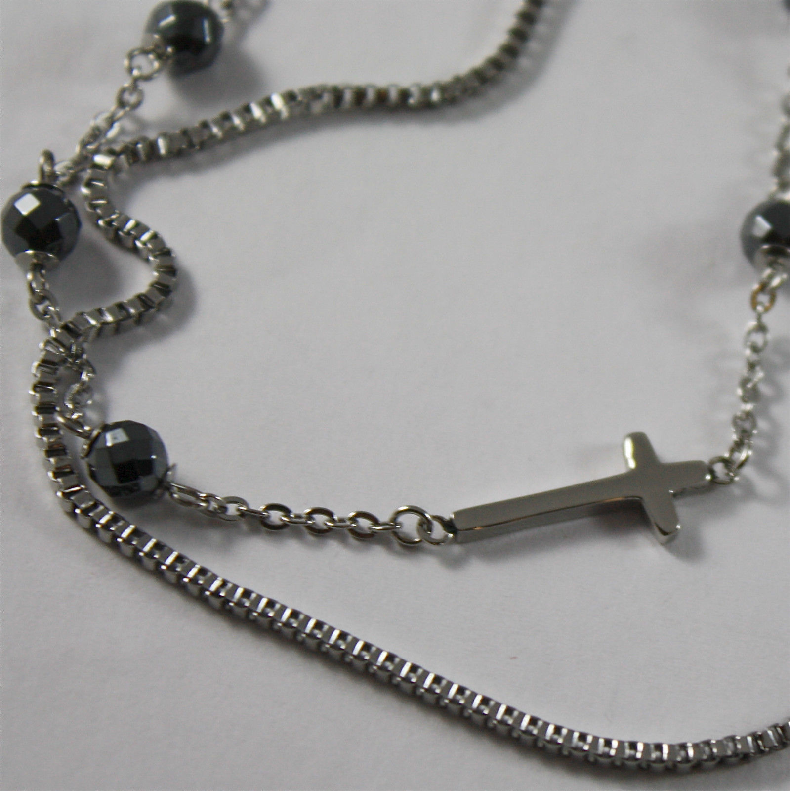 S'AGAPO' NECKLACE, 316L STEEL, CROSSES AND FACETED BALLS, IN BURNISHED STEEL.