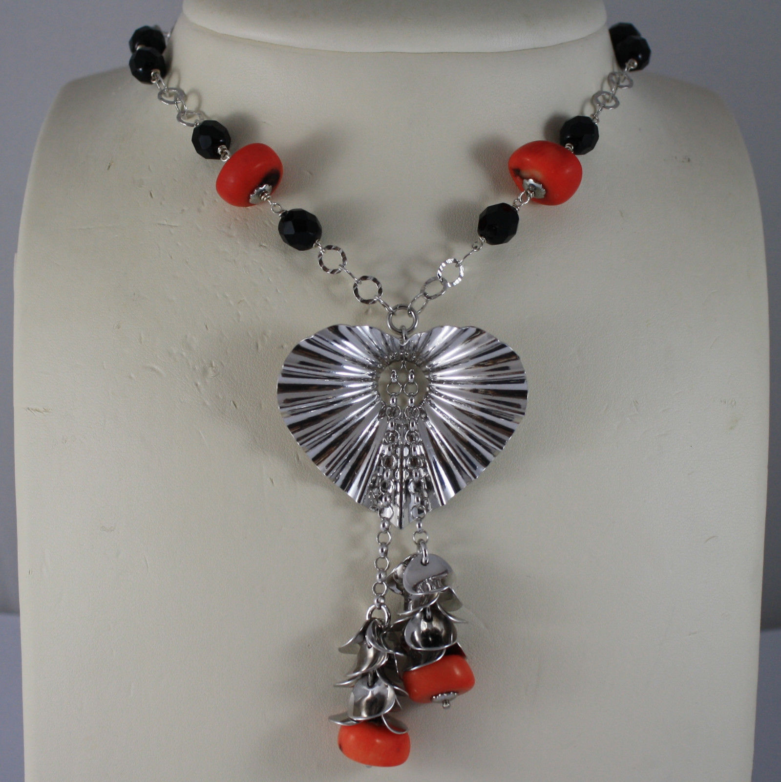 .925 SILVER RHODIUM NECKLACE WITH BLACK ONYX, CORAL BAMBOO AND HEART PENDANT