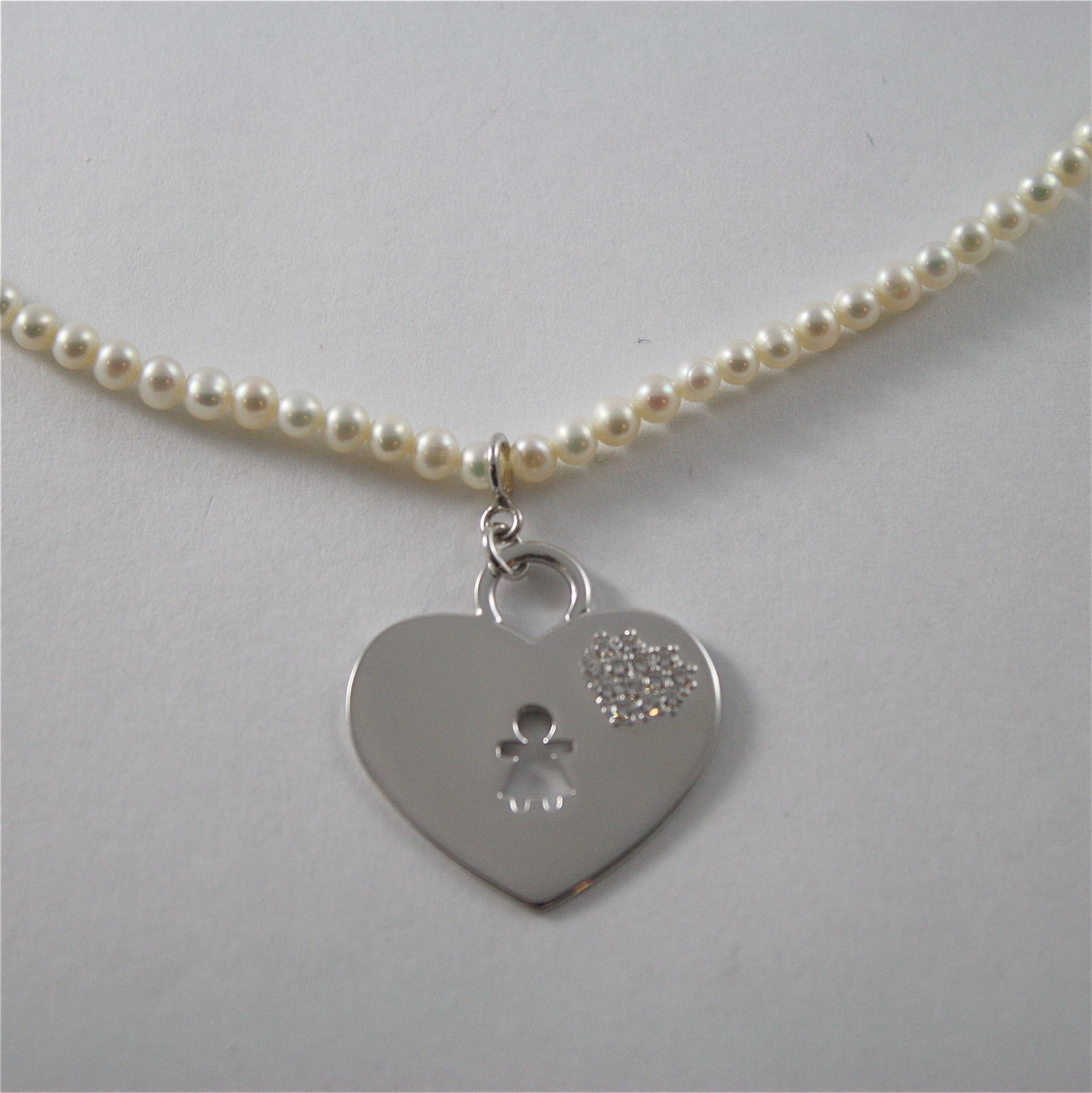 925 Silver Necklace Rhodium with White Pearls 4 MM and Pendant Girl Heart'