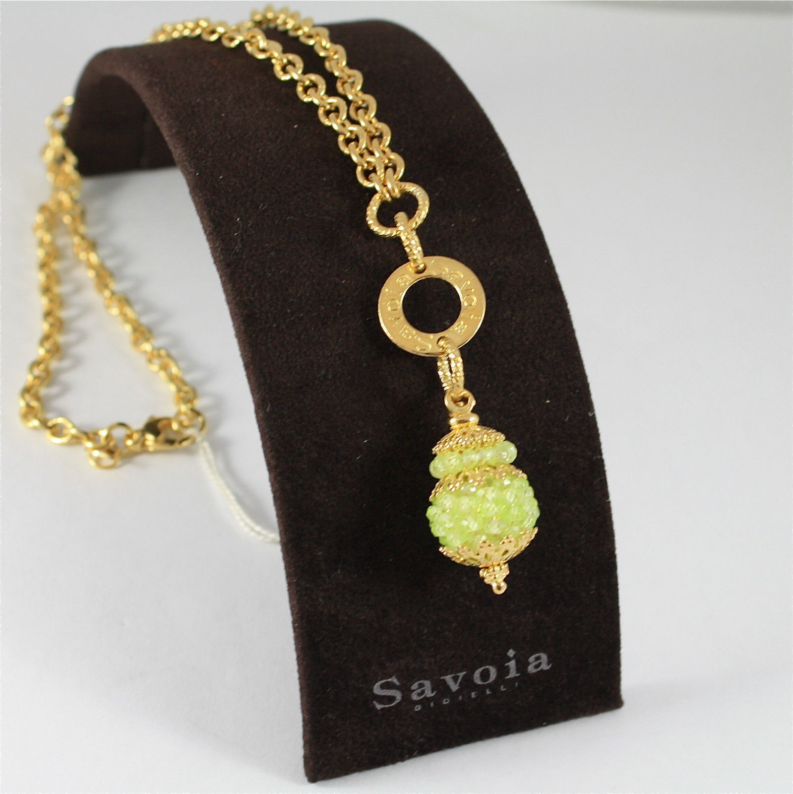 925 SILVER NECKLACE, GOLD PL.WITH FACETED PERIDOT MADE IN ITALY BY SAVOIA JEWELS