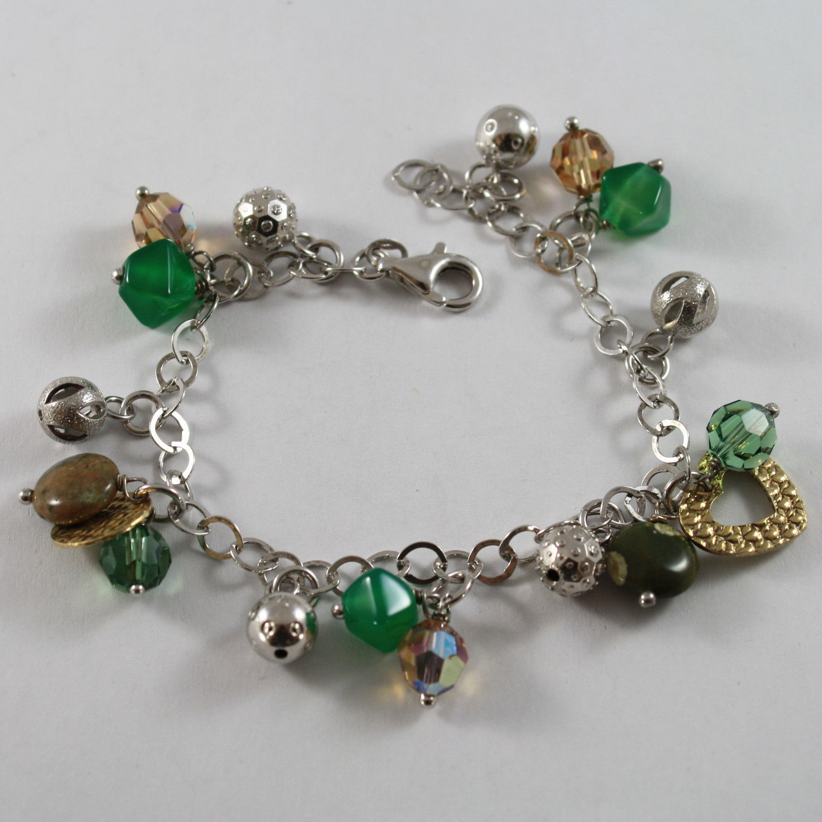 .925 RHODIUM SILVER BRACELET WITH GOLDEN CHARMS, CRISTAL AND JASPER