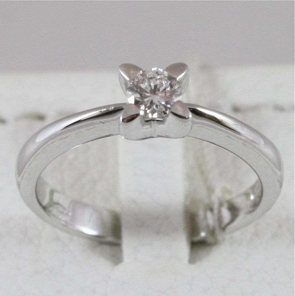 18K 750 WHITE GOLD SOLITAIRE RING WITH DIAMOND CT 0.23 COLOR H VVS MADE IN ITALY