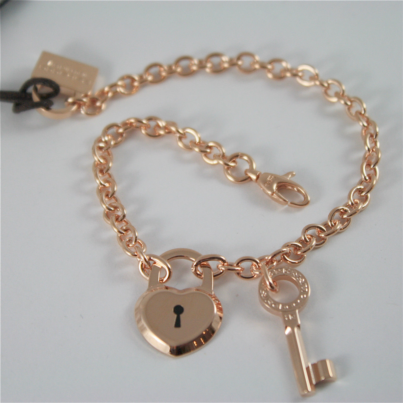 ROSE GOLD PLATED BRONZE REBECCA BRACELET LOVE LOCK BLLBRB63  MADE IN ITALY 8.27