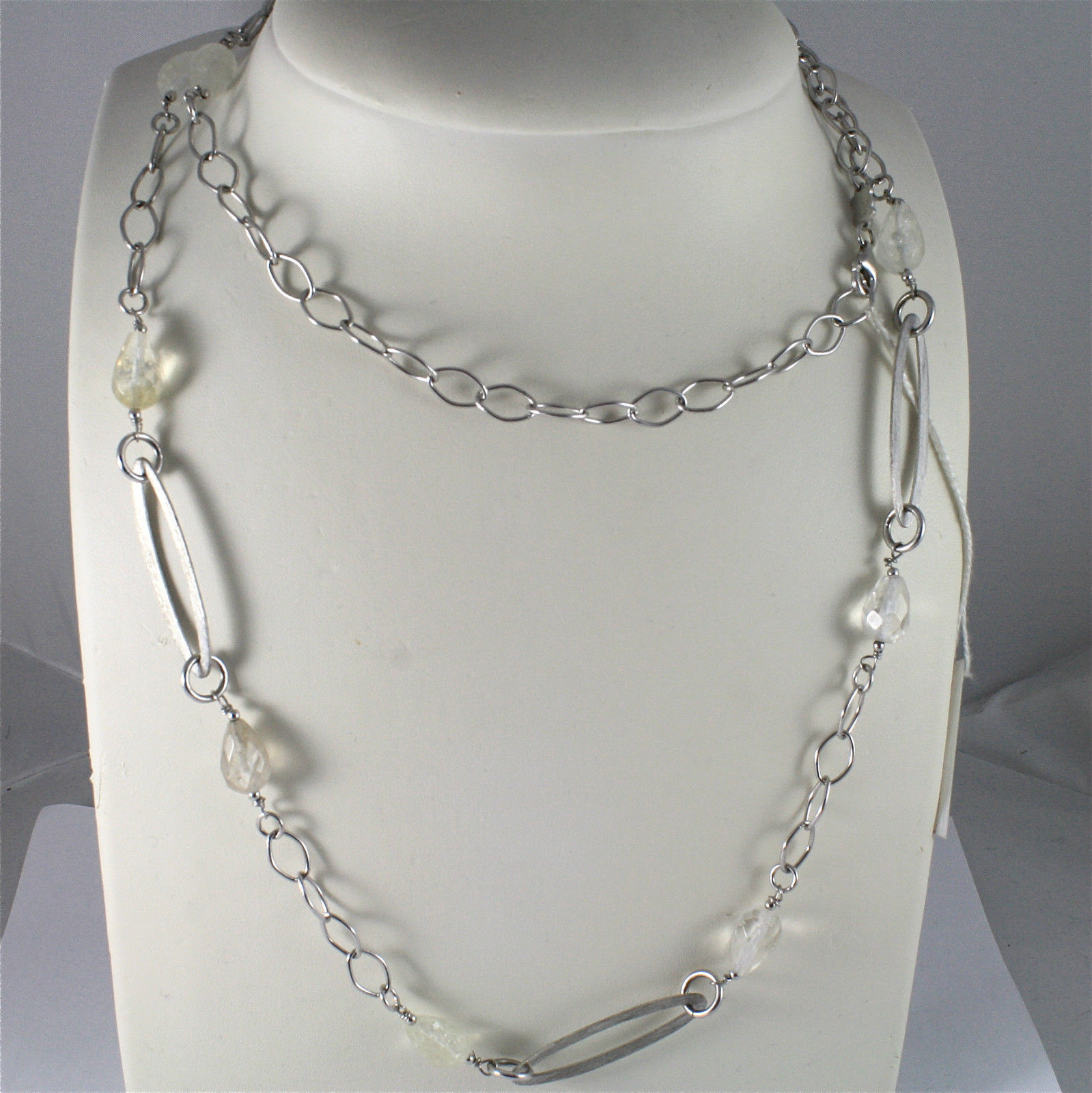 .925 RHODIUM SILVER NECKLACE WITH CRACK CRISTAL FACETED DROPS, SATIN OVAL MESH.