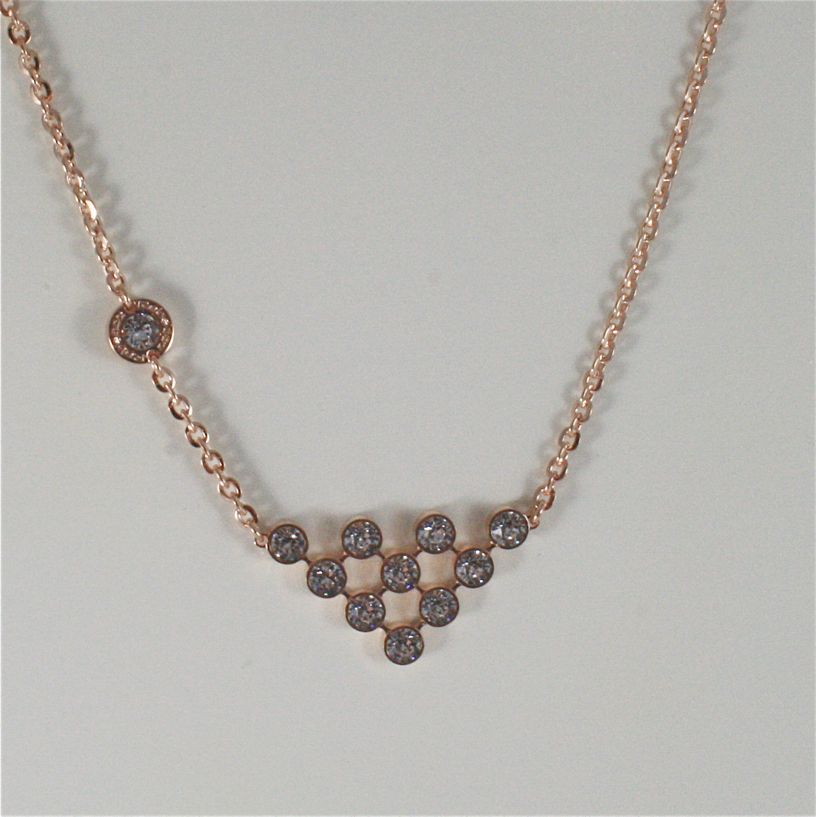 ROSE GOLD PLATED BRONZE REBECCA CLUSTER NECKLACE BPBKRB05 MADE IN ITALY 18.90 IN