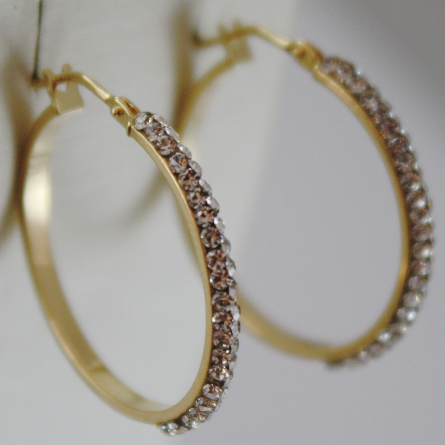 SOLID 18K YELLOW GOLD CIRCLE HOOP EARRINGS WITH ZIRCONIA LUMINOUS MADE IN ITALY