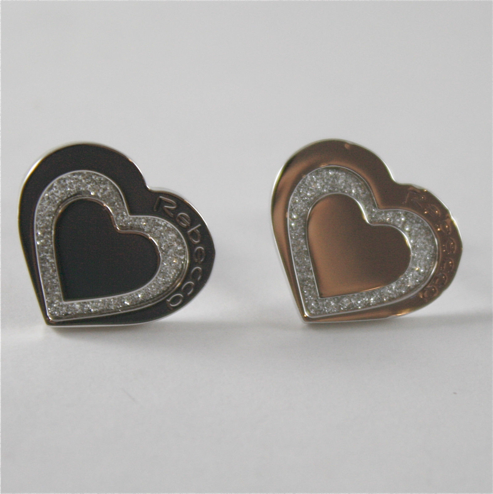 WHITE GOLD PLATED BRONZE REBECCA EARRINGS WITH HEART GLAM BMHOBB52 MADE IN ITALY