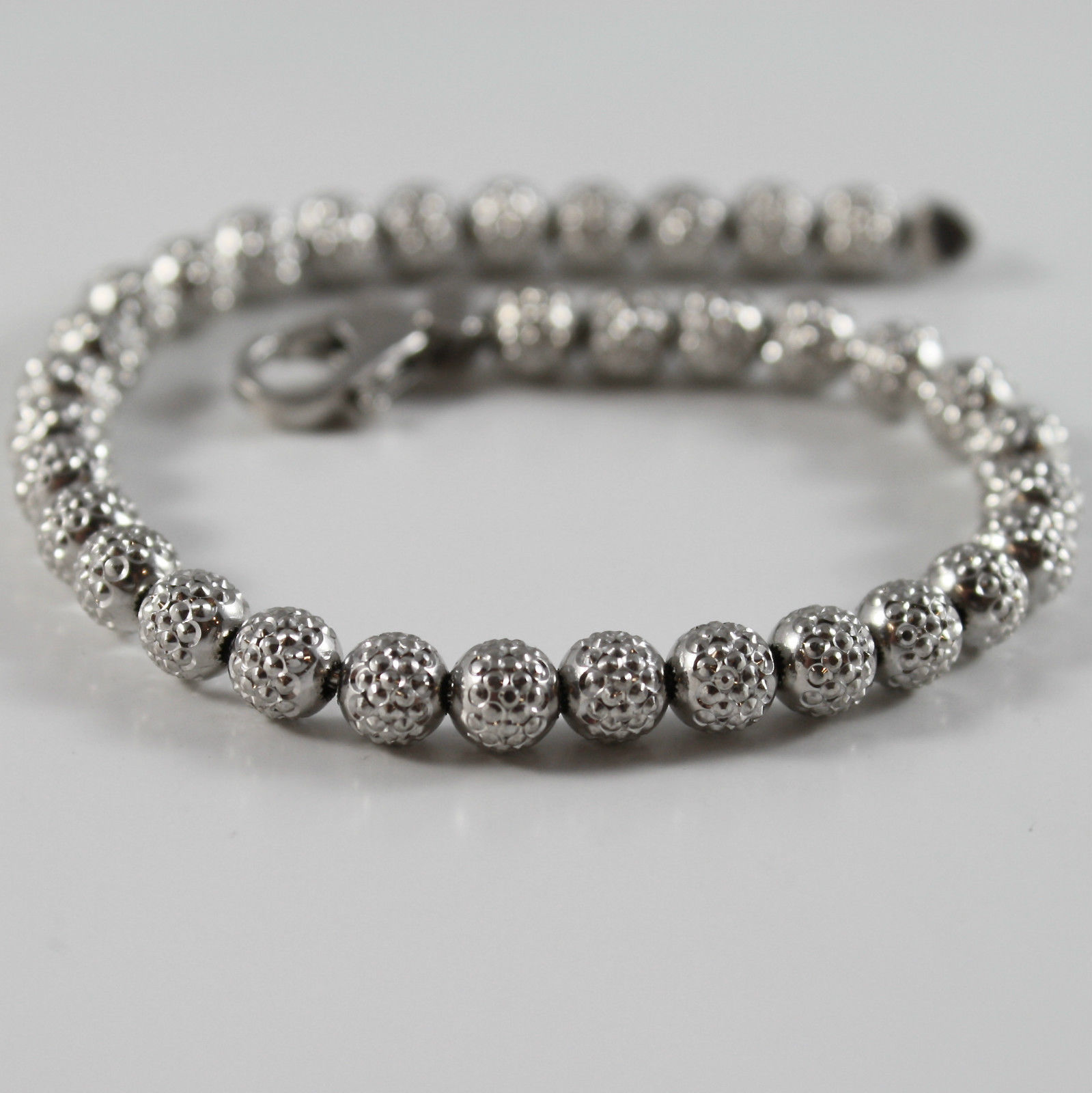 925 RHODIUM SILVER BRACELET OFFICINA BERNARDI WITH FACETED BALLS MADE IN ITALY