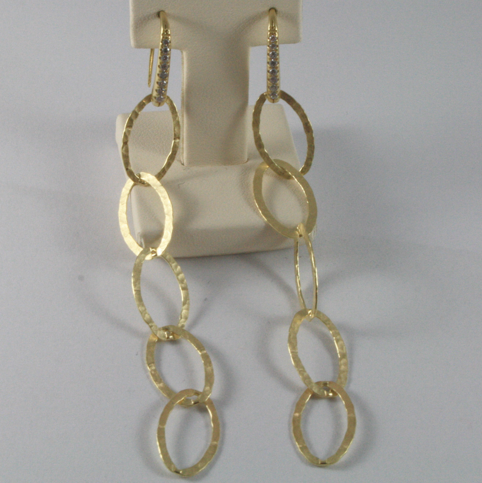 YELLOW 925 SILVER PENDANT EARRINGS, OVAL HAND HAMMERED BY NANIS MADE IN ITAL