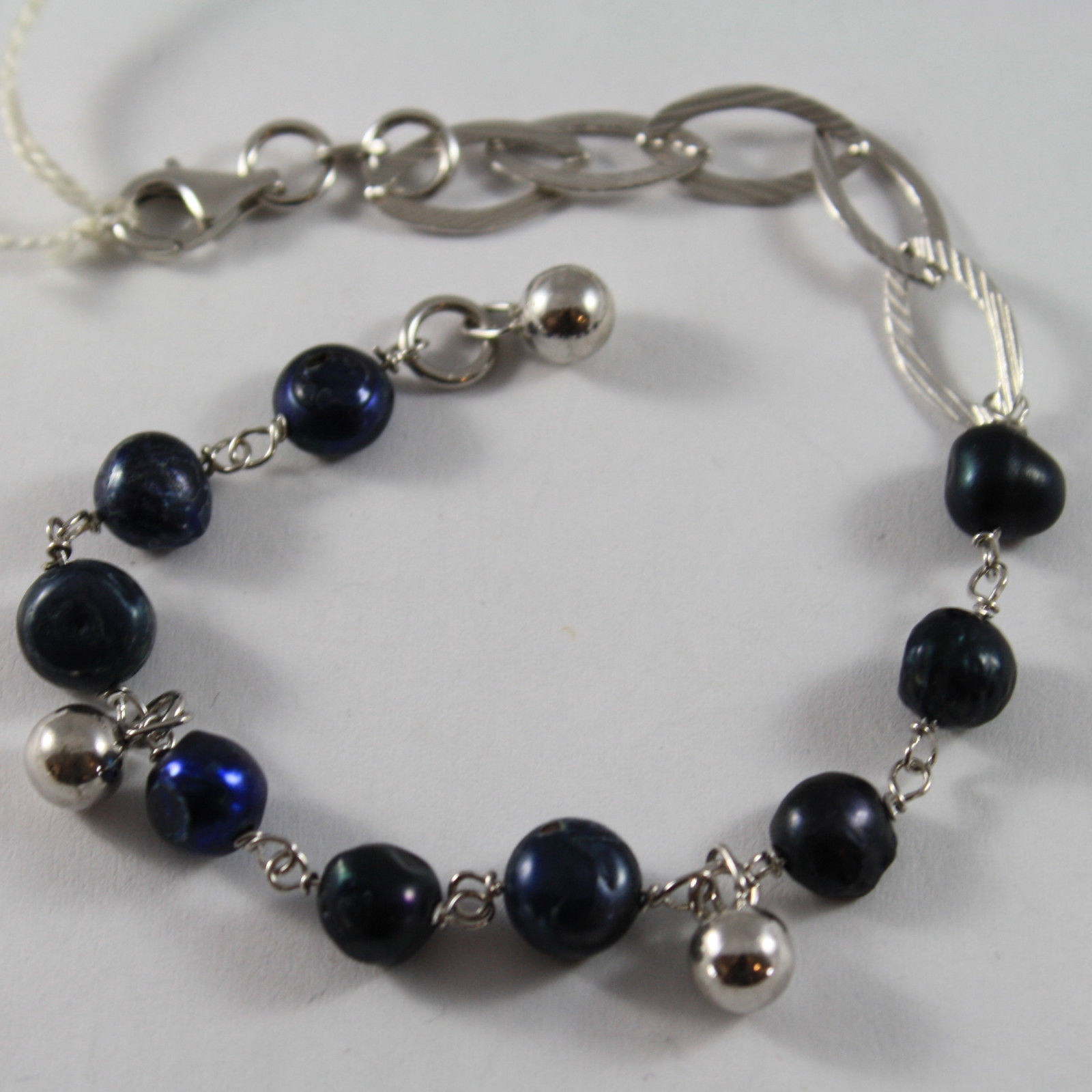 .925 RHODIUM SILVER BRACELET WITH BLUE PEARLS AND SILVER SPHERE