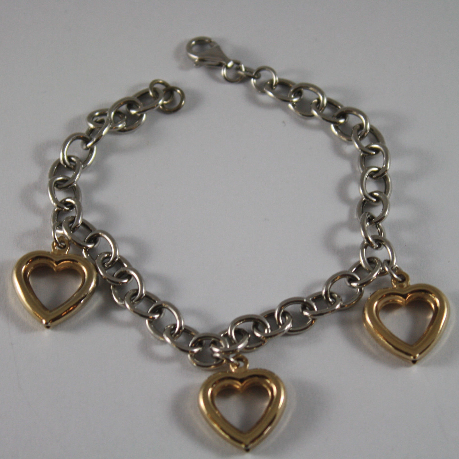 .925 RHODIUM SILVER BRACELET WITH YELLOW GOLD PLATED HEARTS