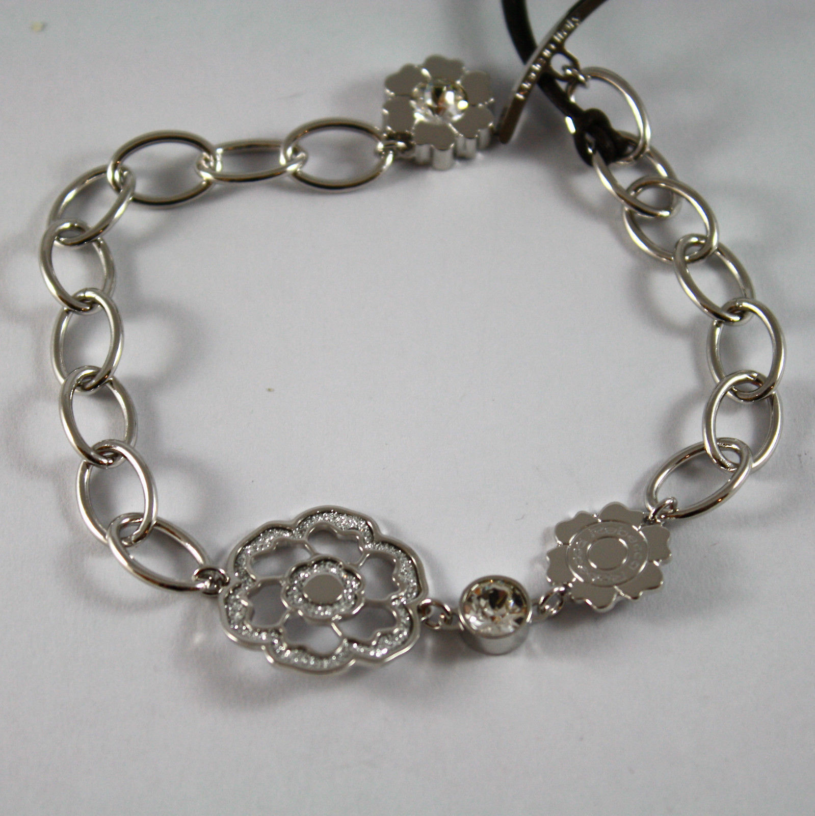 RHODIUM-PL​ATED BRONZE REBECCA BRACELET WITH ROSE BPSBBB08 LENGTH 7.87 INCHES