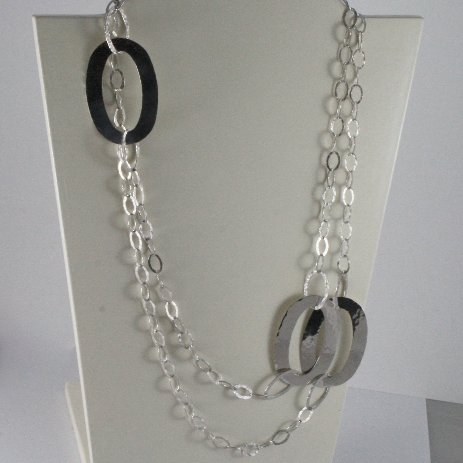 925 RHODIUM SILVER NECKLACE LONG BIG OVAL CHAIN HAMMERED BY NANIS, MADE IN ITALY