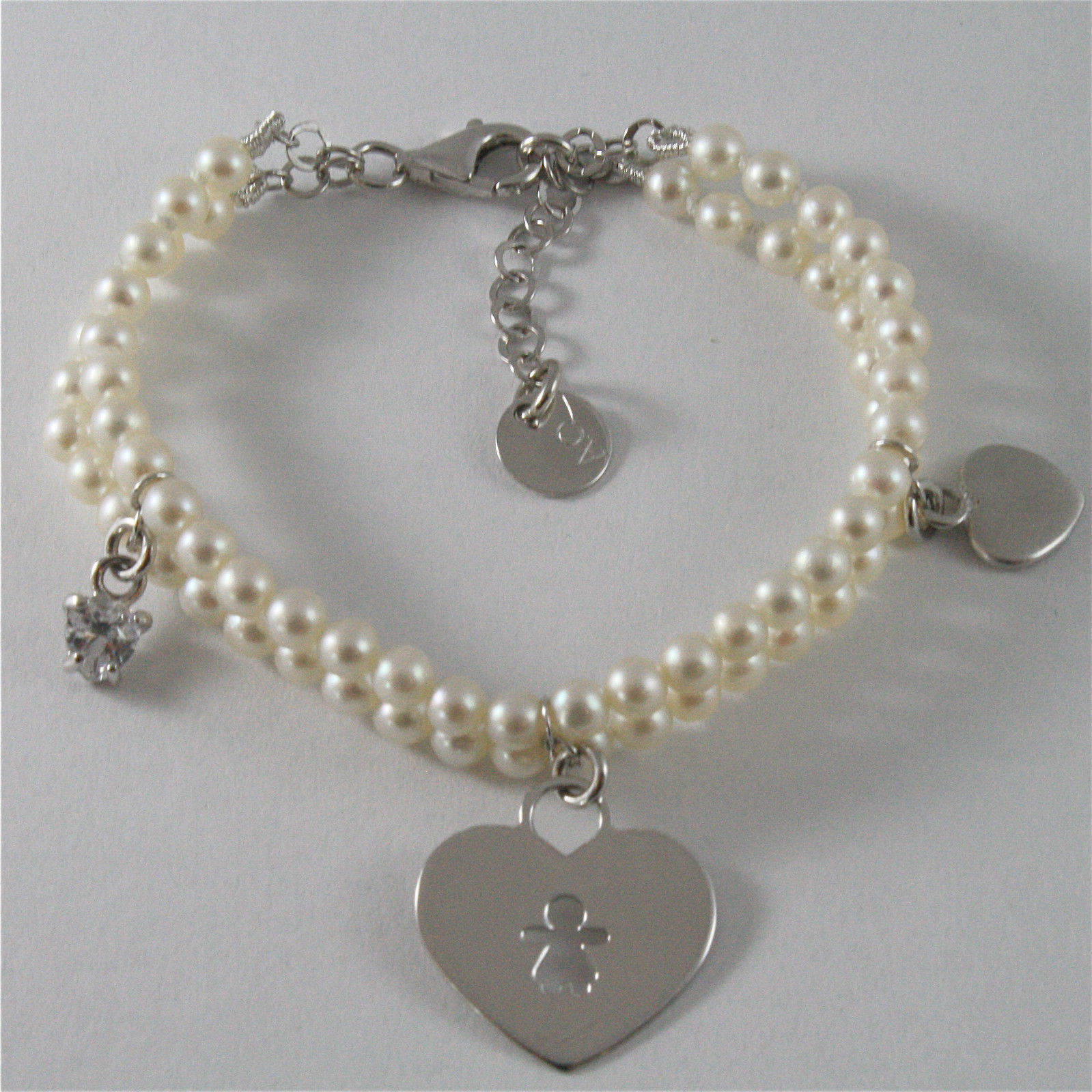Bracelet in Sterling Silver 925 Rhodium Two Wires Pearls Charm Baby Hearts Cu...