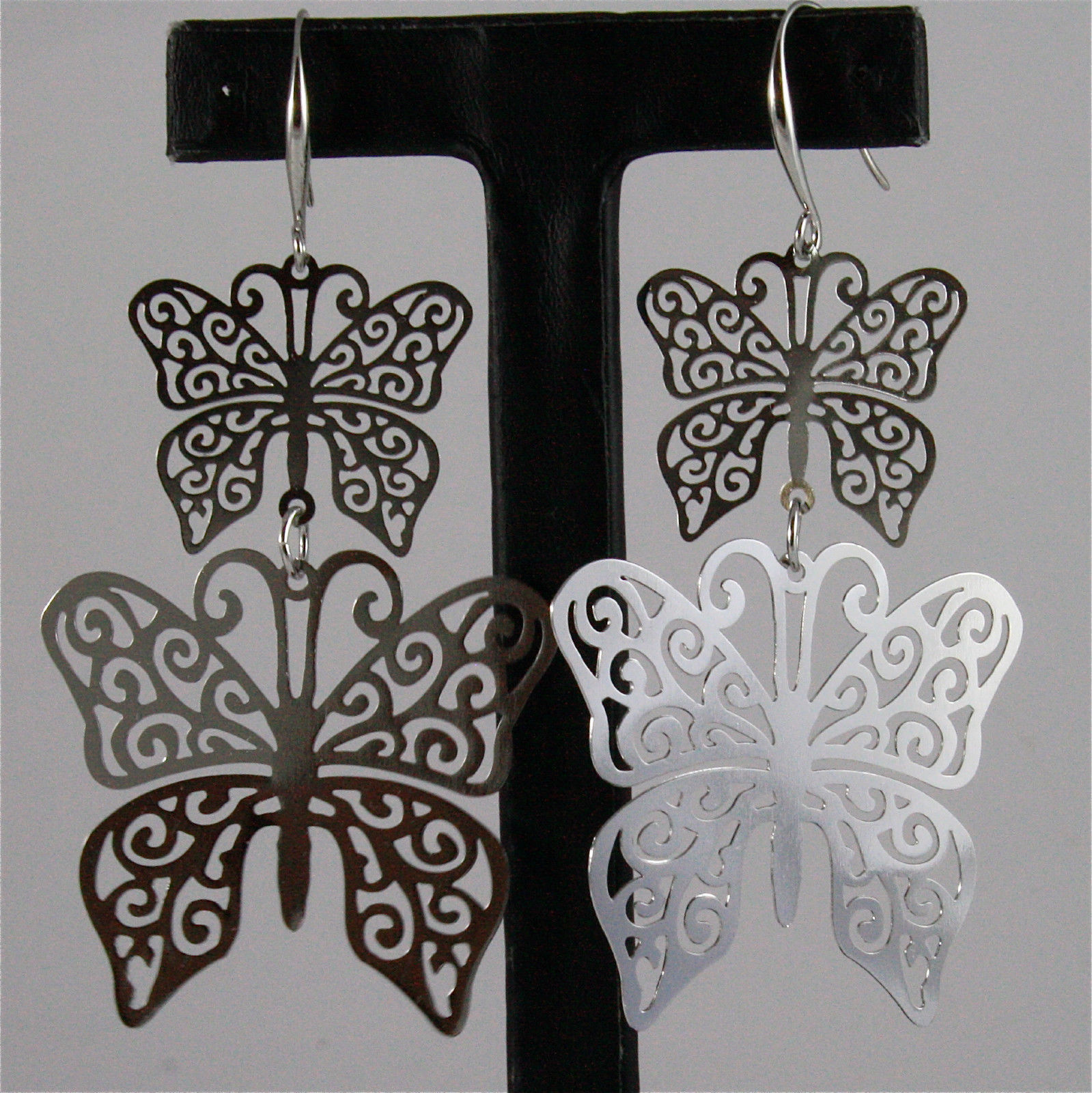 SOLID ANALLERGIC METAL EARRINGS, DOUBLE BUTTERFLIES, LIGHT AND BRIGHT.