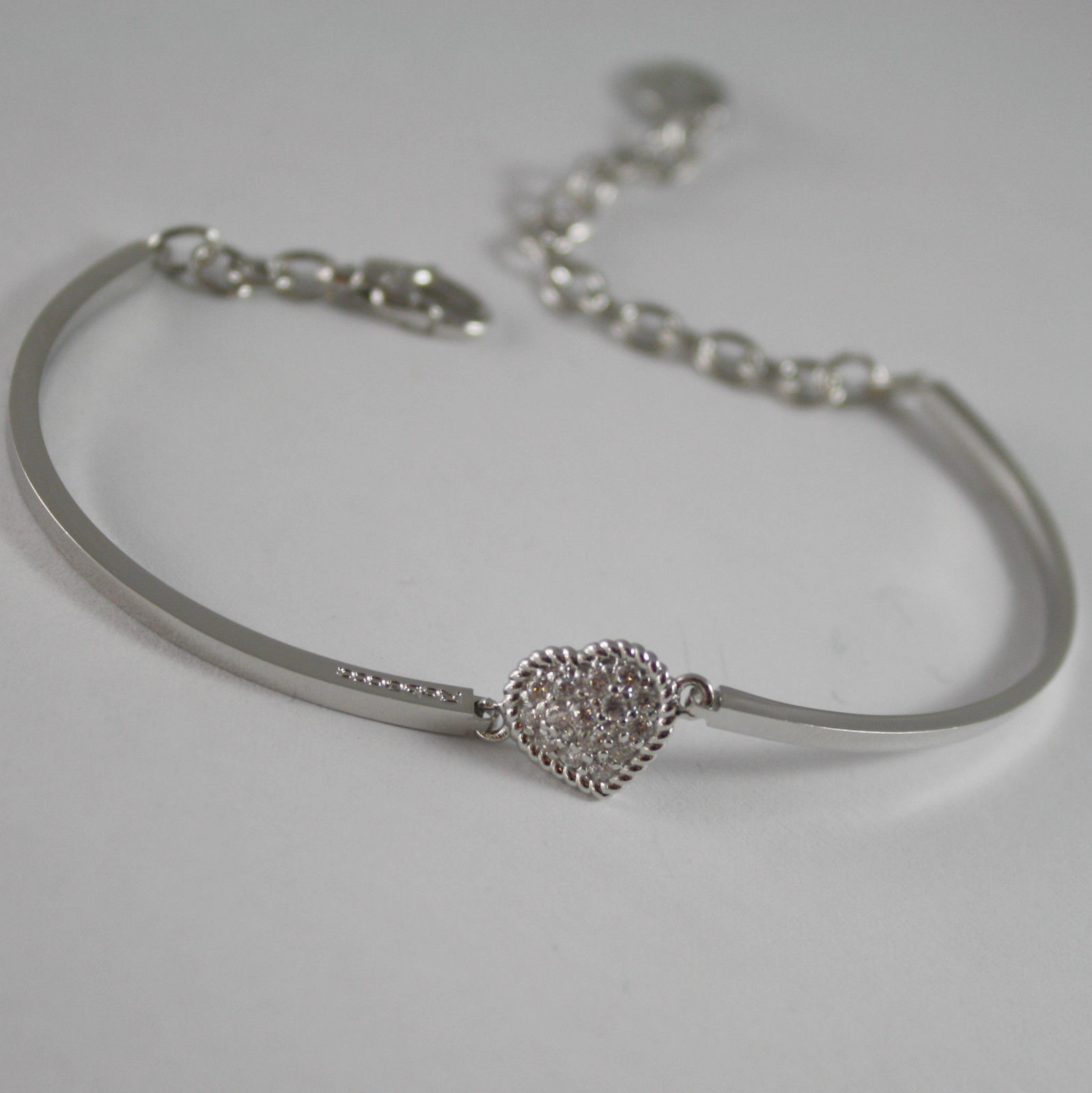 RHODIUM BRONZE BRACELET SEMI RIGID TENNIS HEART B14BBB04 REBECCA, MADE IN ITALY.